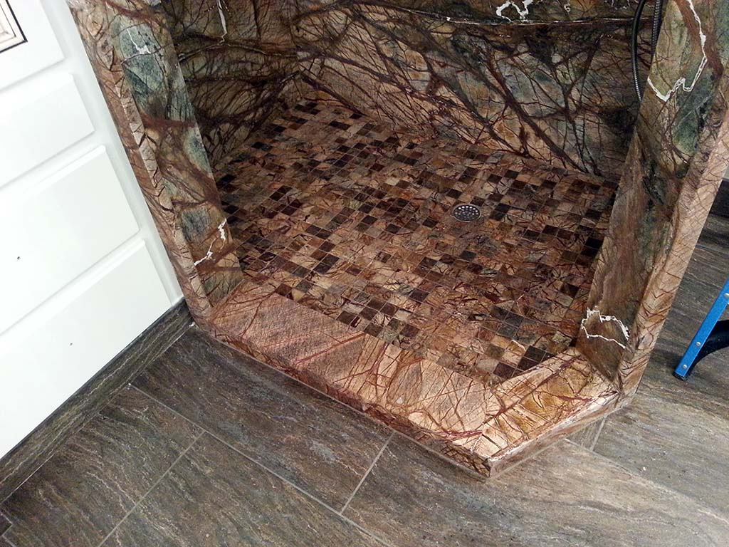 Cafe Rainforest Marble Shower Floor