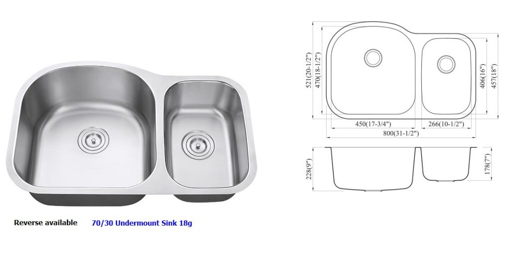 18 Gauge Stainless Steel Undermount 70/30 Kitchen Sink, available in reverse 30/70