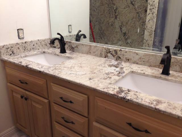 2cm Galaxy White Exotic Granite with Trough Sinks_Master Vanity
