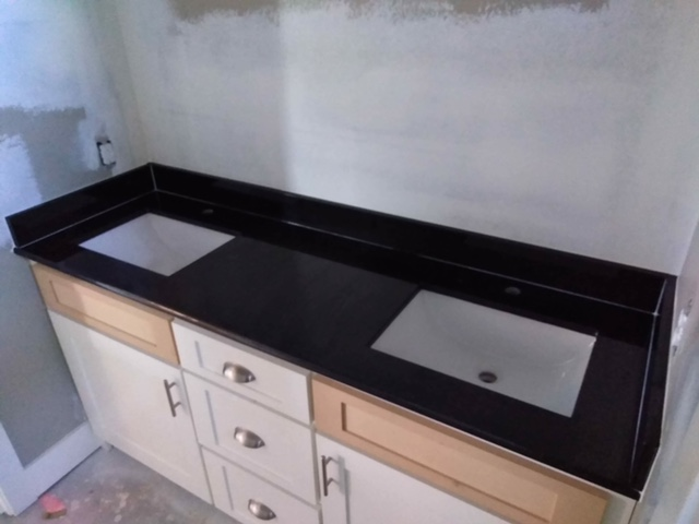 2cm Absolute Black Granite with Trough UM Sinks_LFontenotMBath3