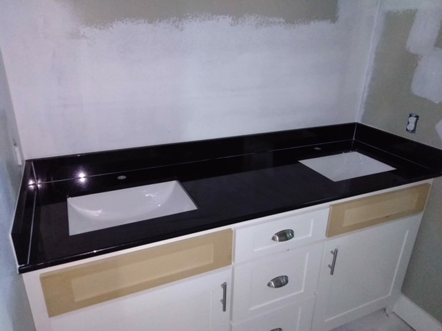 2cm Absolute Black Granite with Trough UM Sinks_LFontenotMBath2