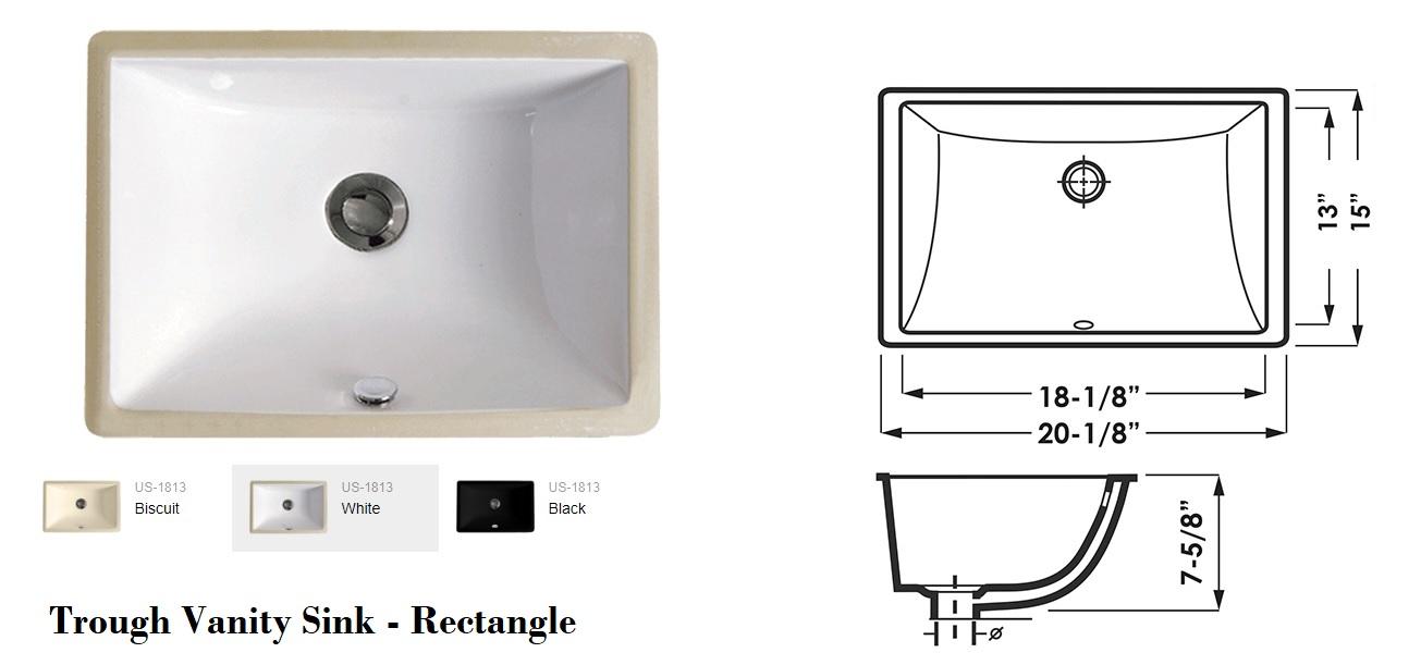 Trough Vanity Sink - Rectangle