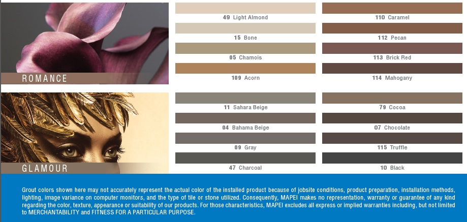 Mapei Grout Colors Romance and Glamour