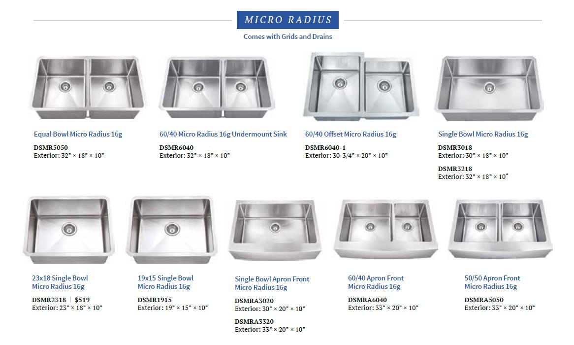 Dakota Micro Radius SS Kitchen Sinks