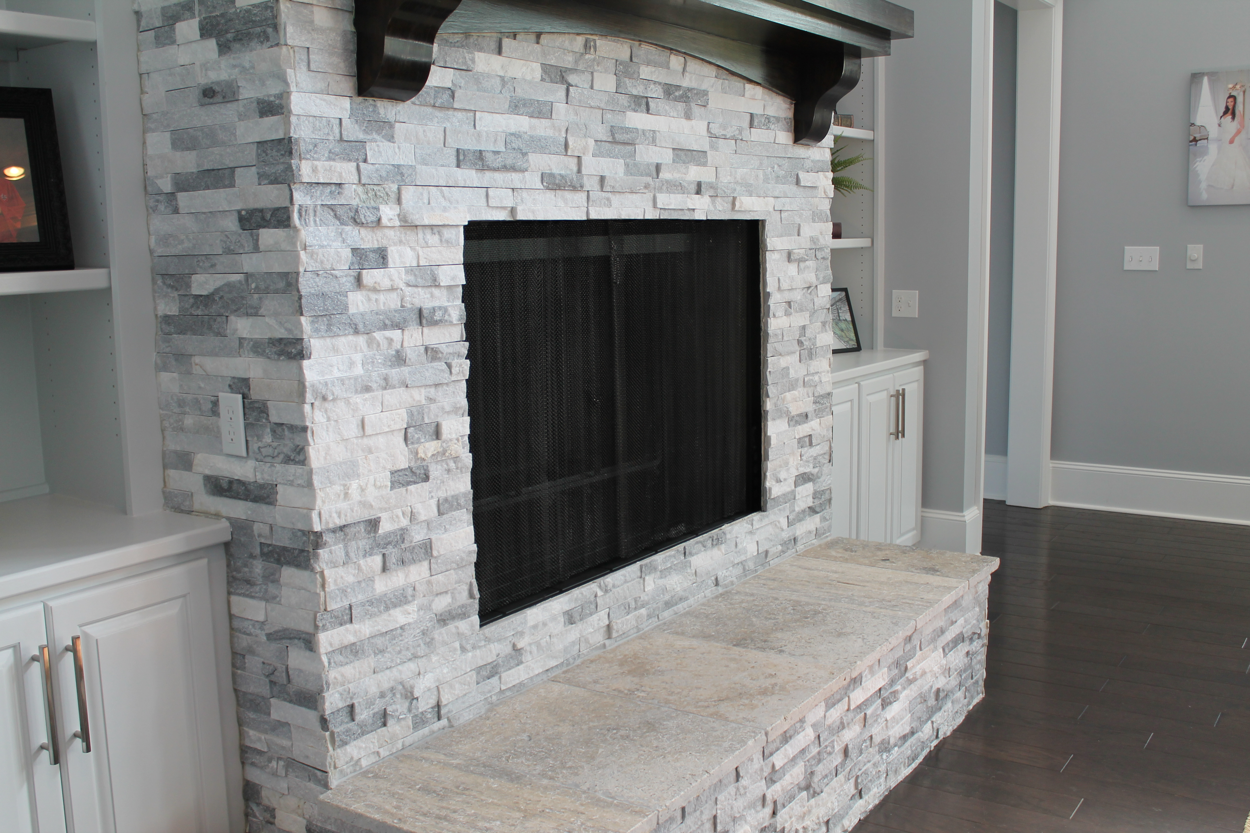 Fireplace Clad with Alaska Gray Stacked Stone