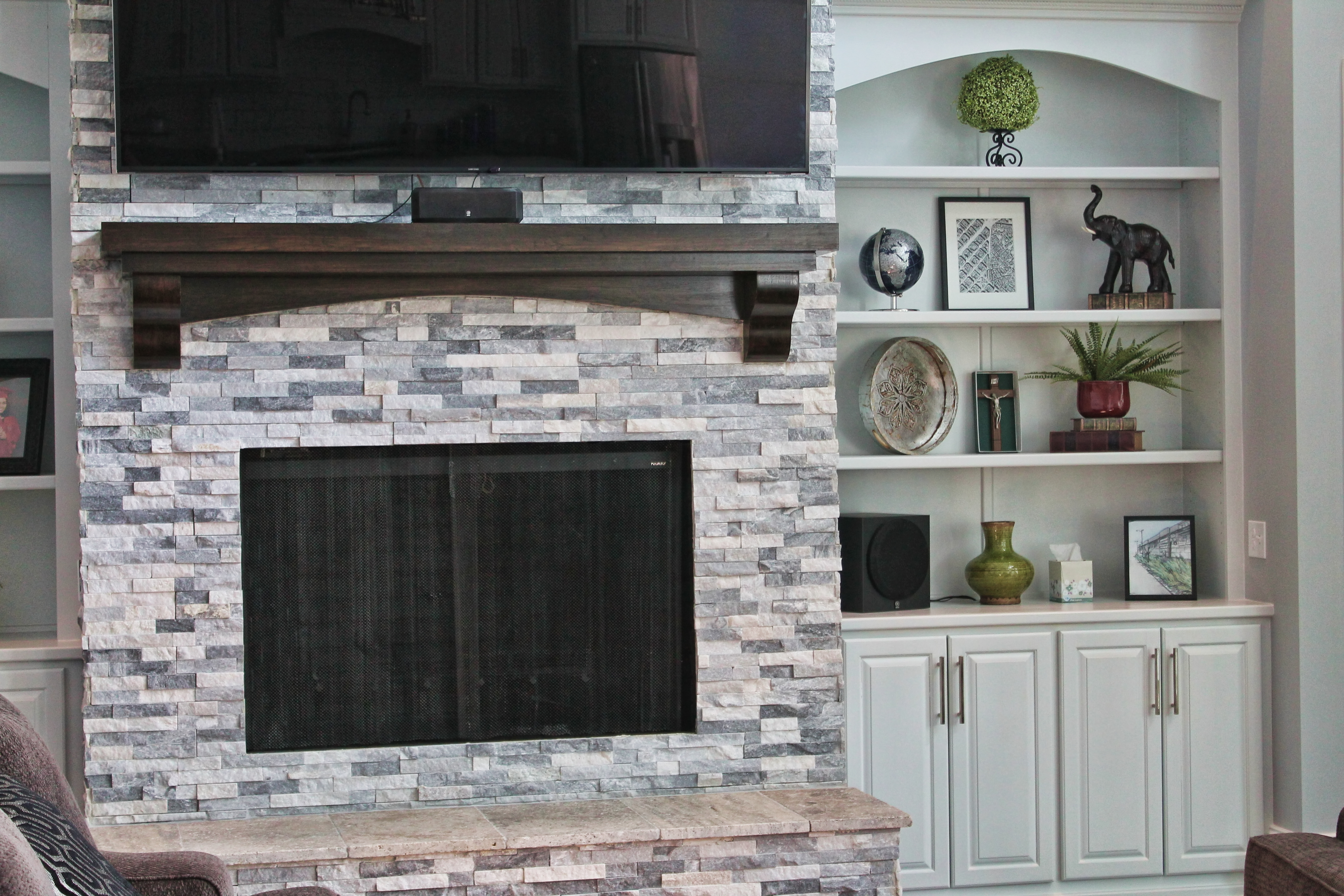 Fireplace Clad with Alaska Gray Stacked Stone/Ledgerstone (Sold by Acadiana Stone LLC - Installed by Contractor)